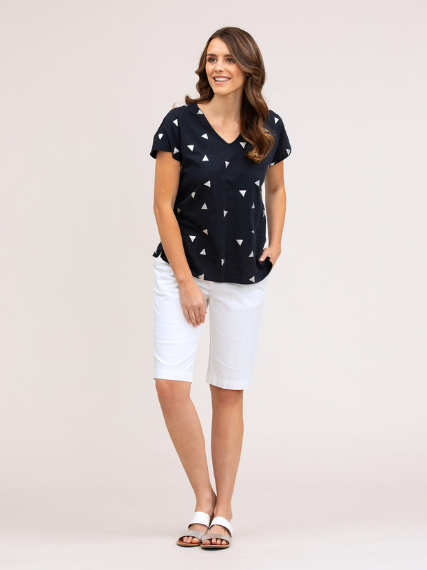 Top - Triangle Print Navy Tee by Yarra Trail