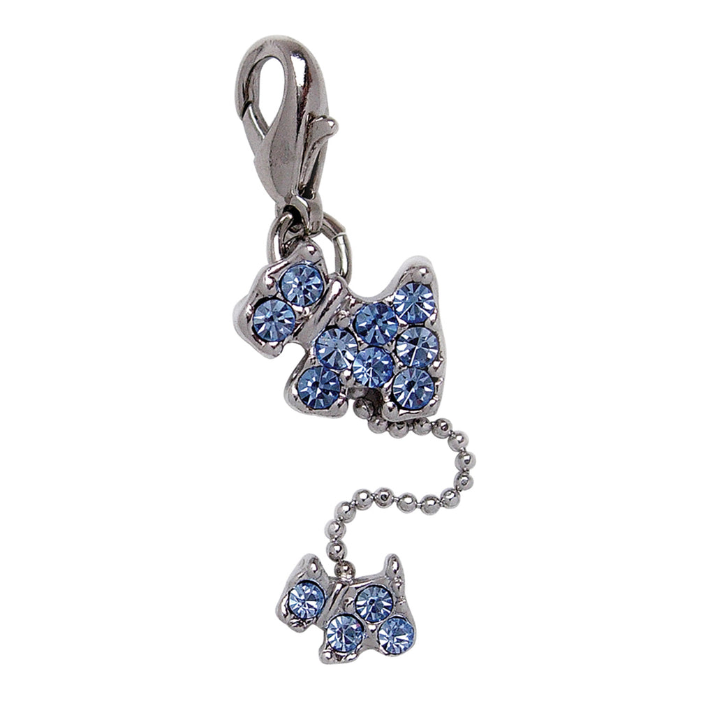Dog and Puppy Charm with BLUE Rhinestones