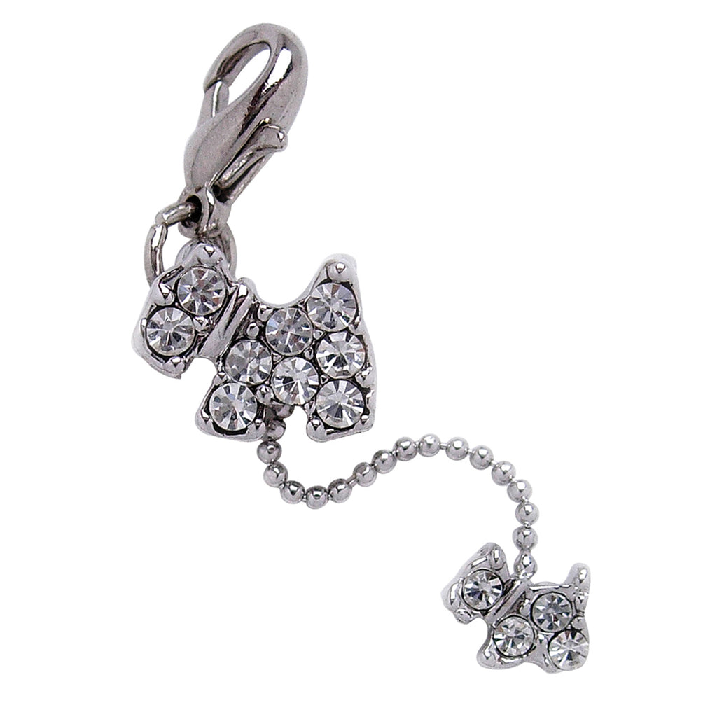 Dog and Puppy Charm with CLEAR Rhinestones