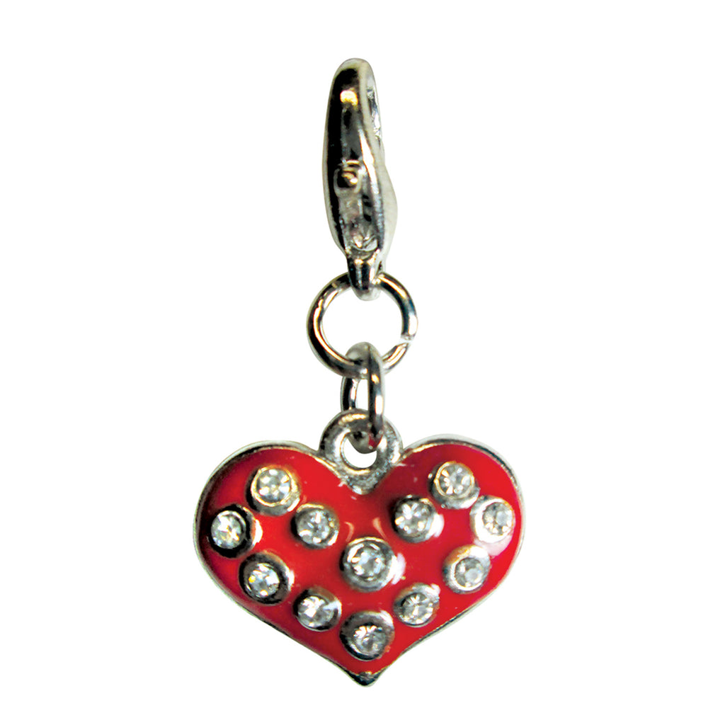 Sparkling Red Heart with Clear Rhinestone Enamel Charm
