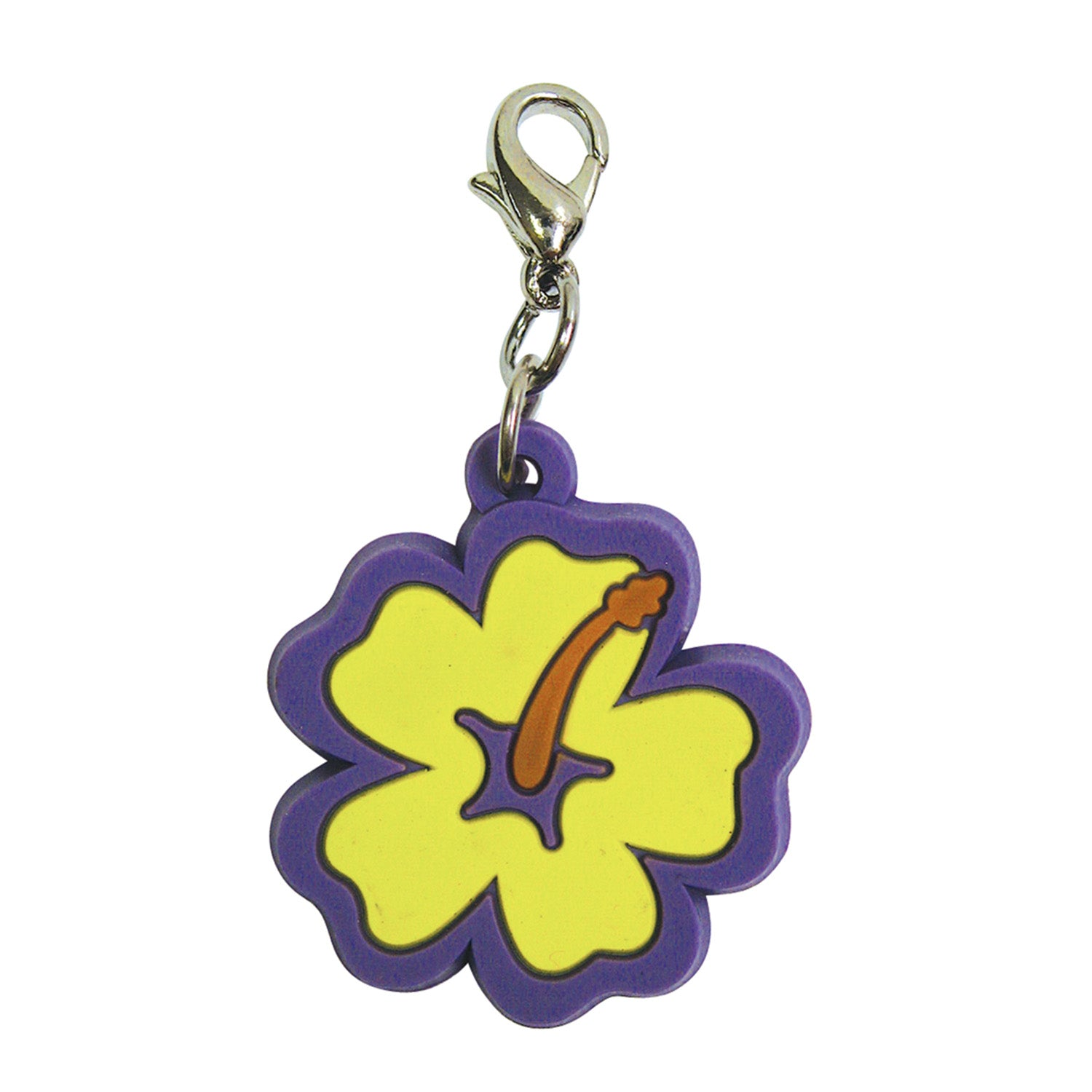 Soft PVC Rubber Hibiscus Charms - Yellow w/Purple Trim