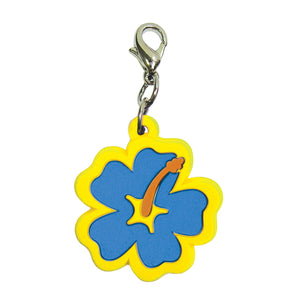Soft PVC Rubber Hibiscus Charms - Blue w/Yellow Trim