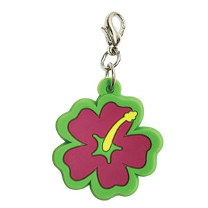 Soft PVC Rubber Hibiscus Charms - Pink w/Green Trim