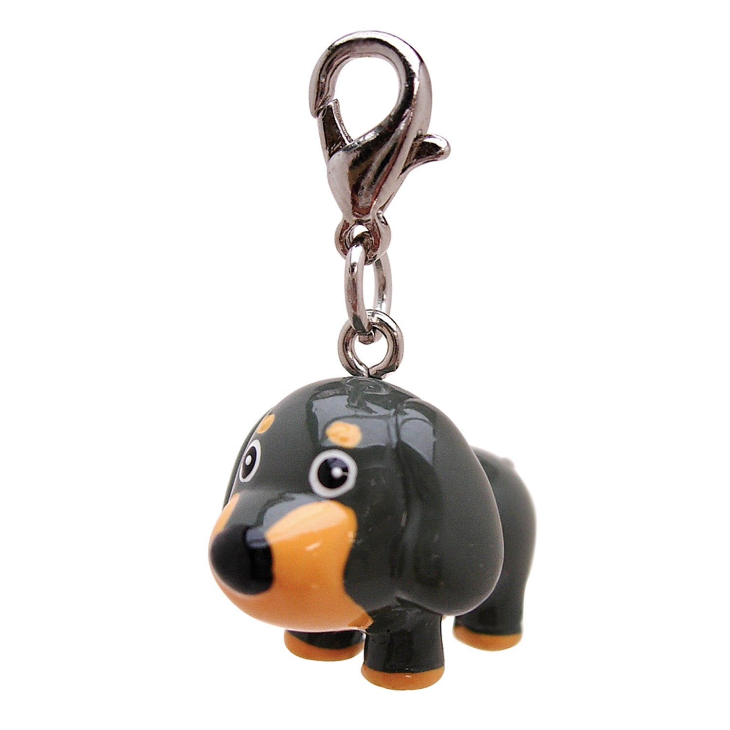 Poly 3-D Long Ears Grey Dog Charm