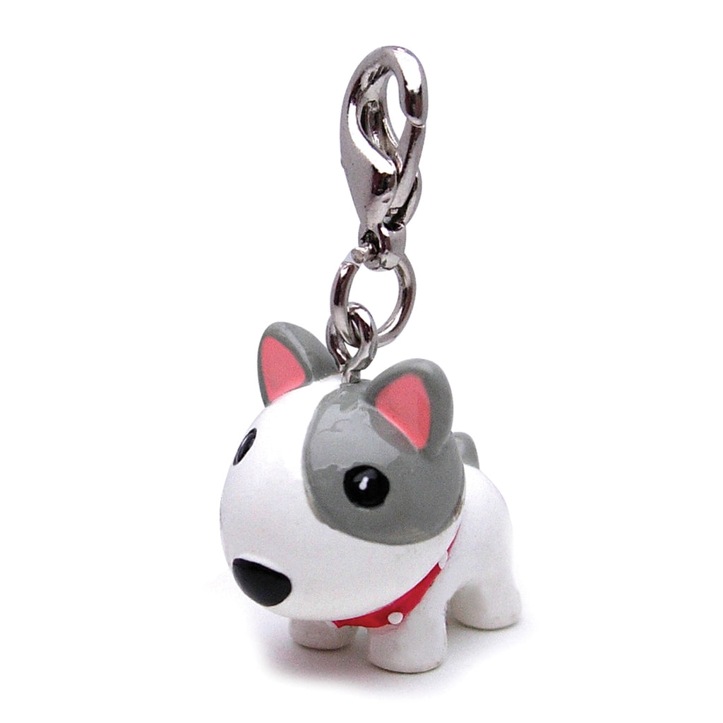 Poly 3-D White Dog with Spike Collar Charm