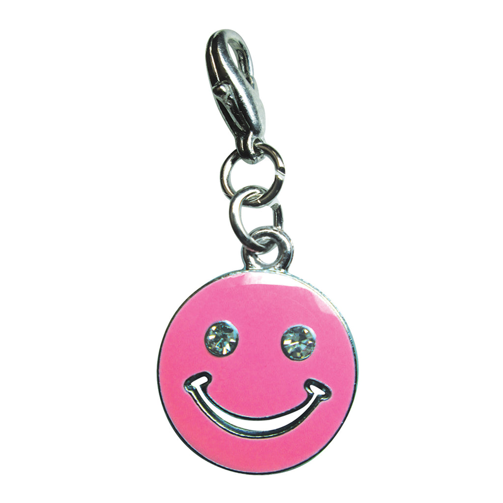 Happy Face with Sparkling Eyes Enamel Charm - Pink