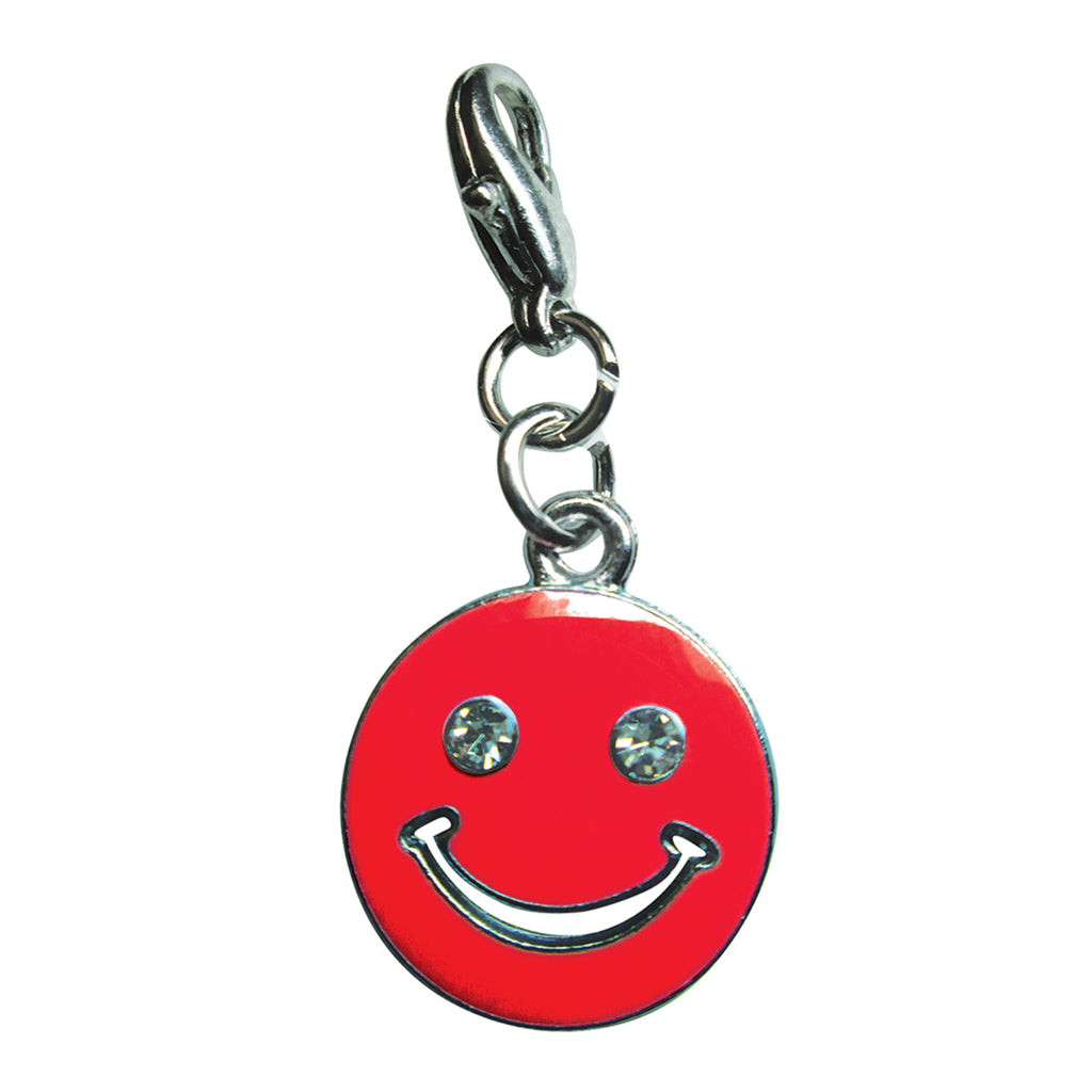 Happy Face with Sparkling Eyes Enamel Charm - Red