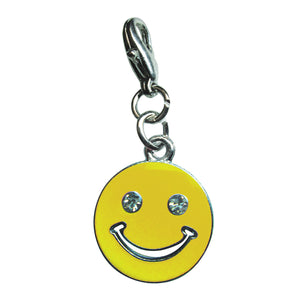 Happy Face with Sparkling Eyes Enamel Charm - Yellow