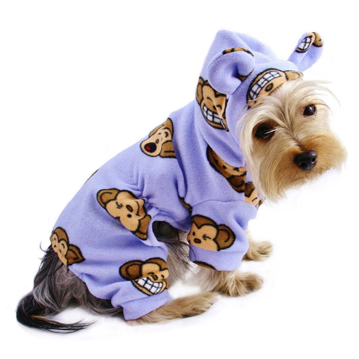 Silly Monkey Fleece Hooded Pajamas - Lavender