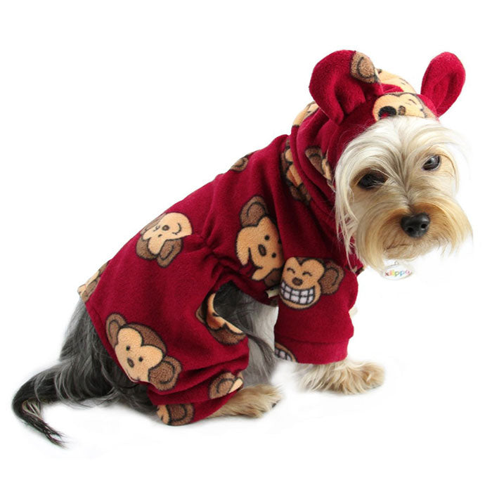 Silly Monkey Fleece Hooded Pajamas - Burgundy