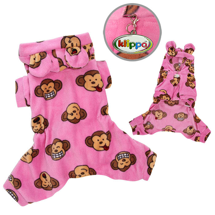 Silly Monkey Fleece Hooded Pajamas - Pink