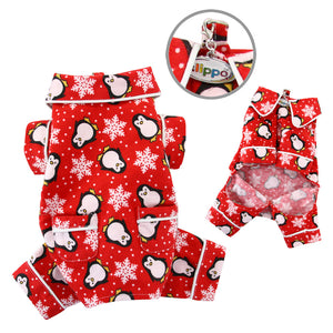 Penguins & Snowflake Flannel PJ with 2 Pockets - Red