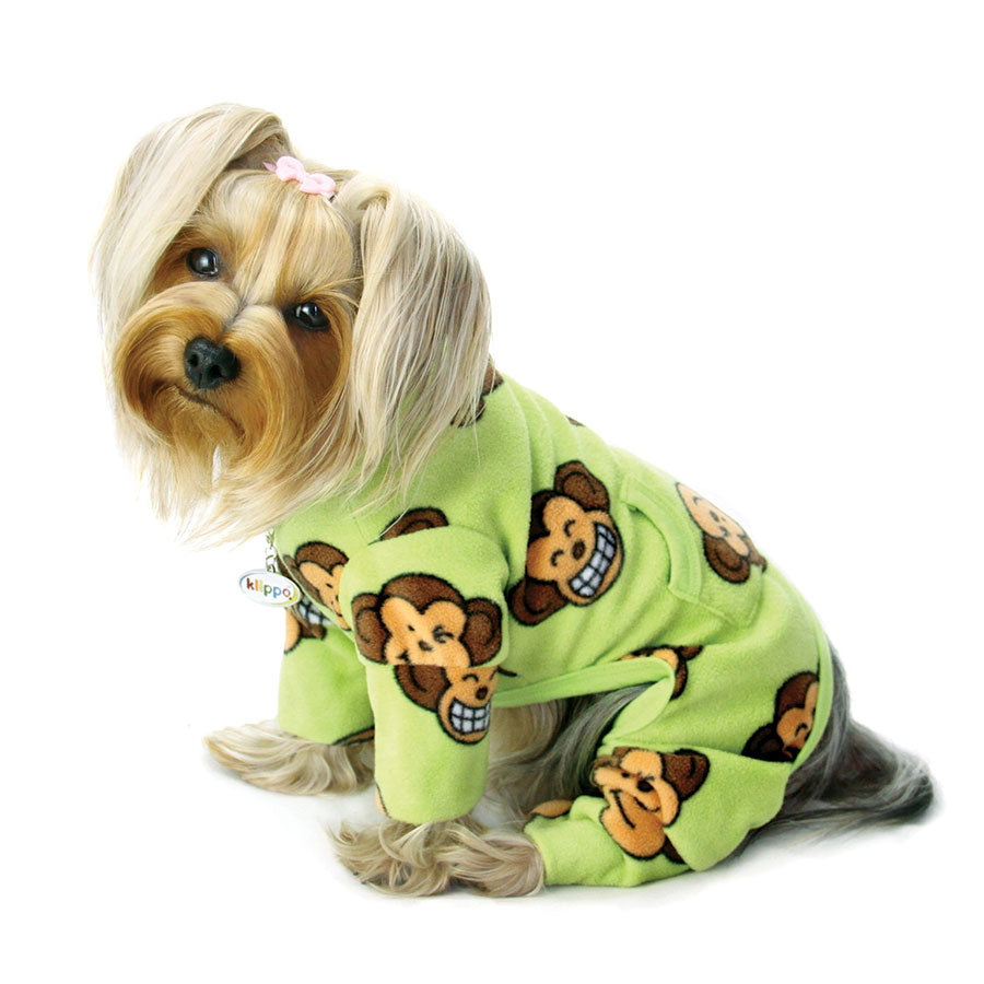 Silly Monkey Fleece Turtleneck Pajamas - Lime