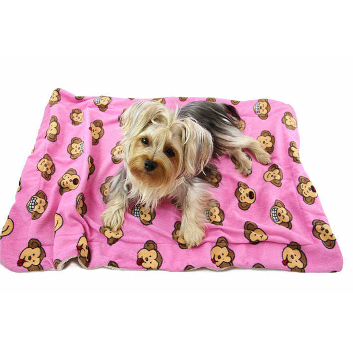 Silly Monkey Fleece/Ultra-Plush Blanket - Pink