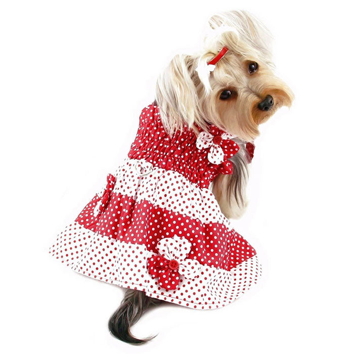 Red & White Polka Dots Sundress with Contrasting Flowers