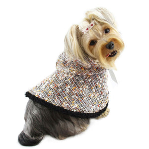 Adorable hooded cape with glittery fur trim
