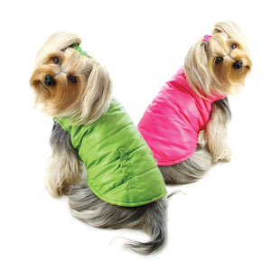 Reversible Puffer Vest with Ruffle Trims - Lime/Pink