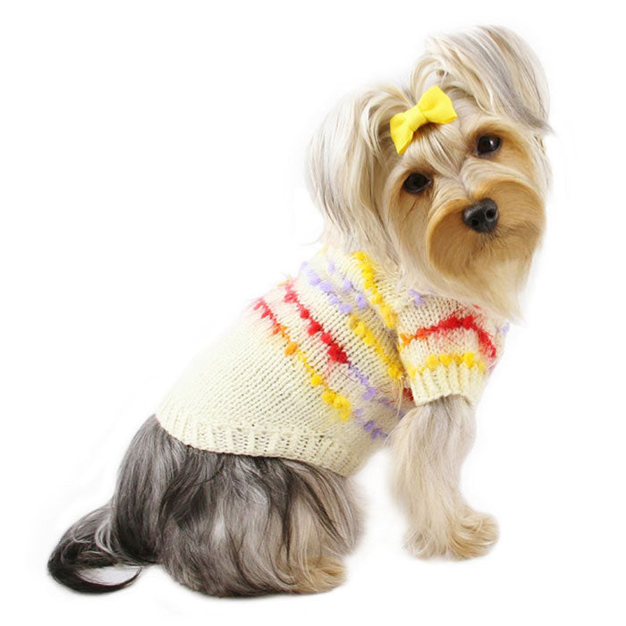 Cute Ivory Hand Knitted Sweater with Colorful Trims