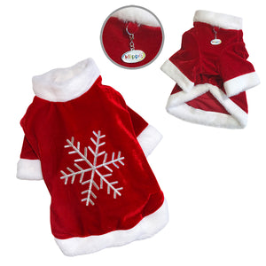 Velour Holiday Shirt with Sparkling Silver Snowflake