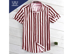 Vertical Striped Button Down (Grey/Red/Yellow)