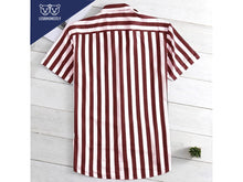 Load image into Gallery viewer, Vertical Striped Button Down (Grey/Red/Yellow)