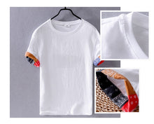 Load image into Gallery viewer, Linen T-Shirt with Bandana Style Trim