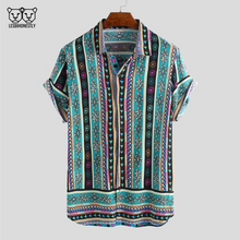 Load image into Gallery viewer, Button up shirt with a turquoise, pink and yellow southwestern print
