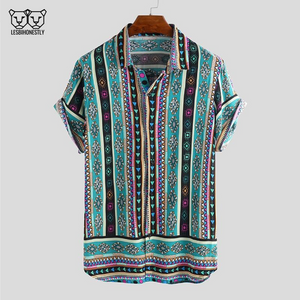 Button up shirt with a turquoise, pink and yellow southwestern print