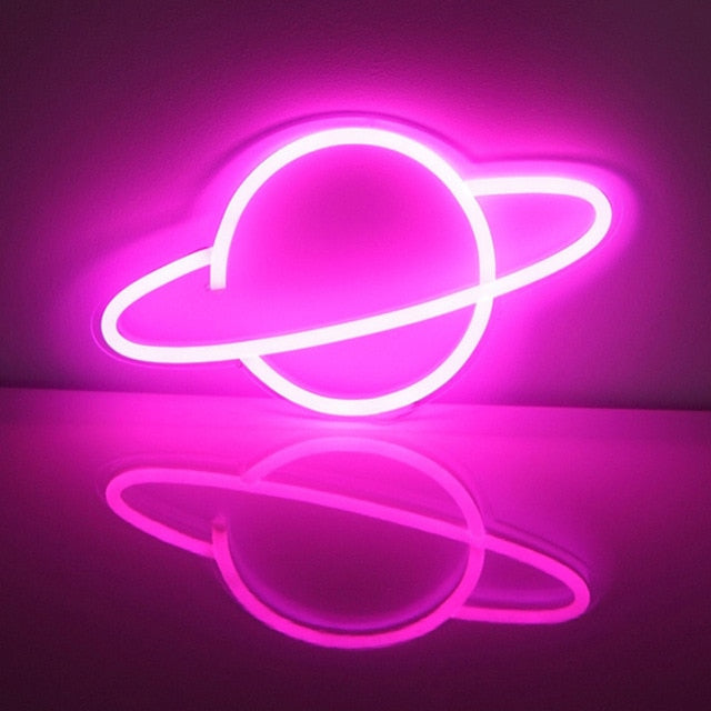 Saturn's Greeting LED Neon Lights