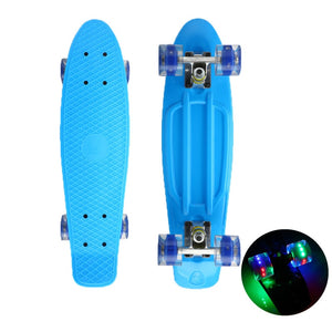 "Classic 22"" Mini Cruiser Skateboard with Glowing Wheels"