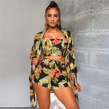 Load image into Gallery viewer, Floral Beachwear Swimsuit (Crop Top + Shorts + Coverup)