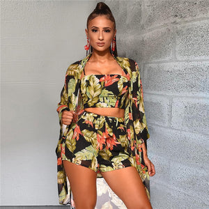 Floral Beachwear Swimsuit (Crop Top + Shorts + Coverup)