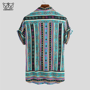The back of a button up shirt with a turquoise, pink and yellow southwestern print