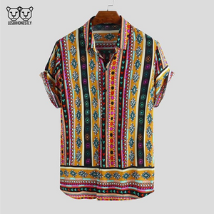 Button up shirt with a yellow, pink and black southwestern print