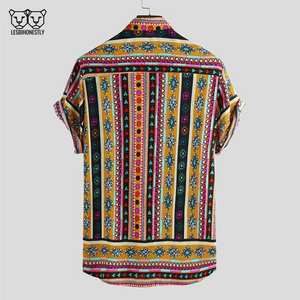 The back of a button up shirt with a yellow, pink and black southwestern print