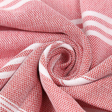 Load image into Gallery viewer, Red Turkish Towel displayed in a spiral