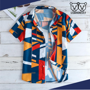 Geometric Print Button Up