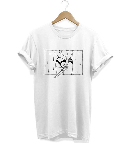 T-shirt with an outlined drawing of a woman holding a knife behind her back