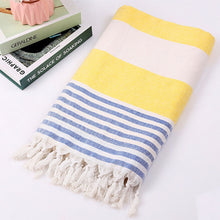 Load image into Gallery viewer, Yellow, blue and white Turkish Towel