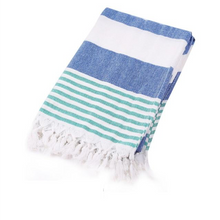 Load image into Gallery viewer, Blue. green and white Turkish Towel