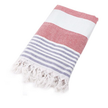Load image into Gallery viewer, Red, blue and white Turkish Towel