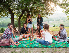 Load image into Gallery viewer, Friends on picnic blanket drinking wine