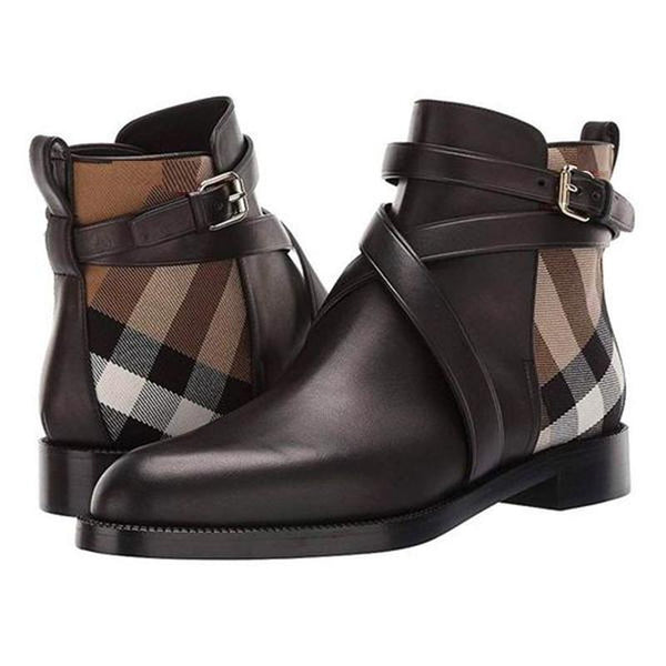 Men's Plaid Ankle High Leather Boots