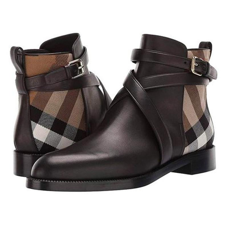 Clearance Men's Plaid Ankle High Leather Boots