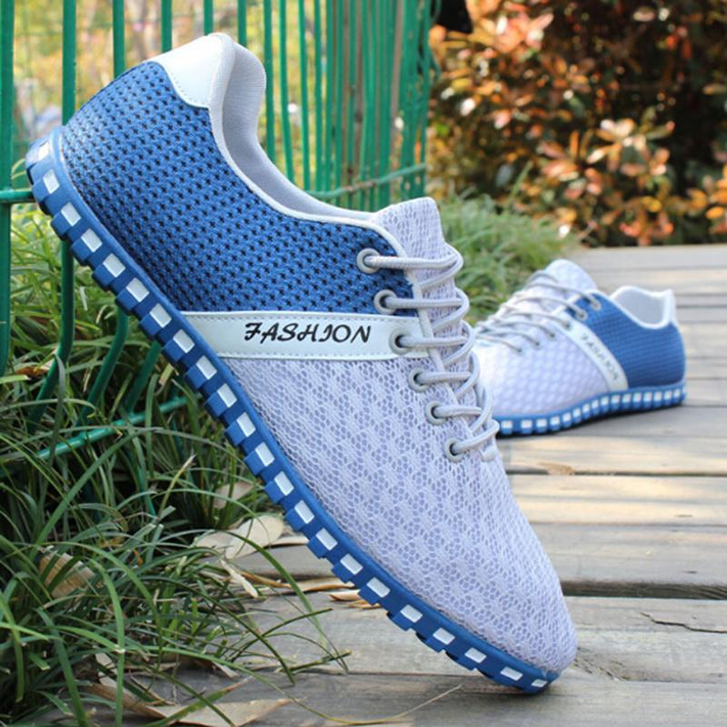 Mens Mesh Breathable Lace-up Flat Driving Shoes