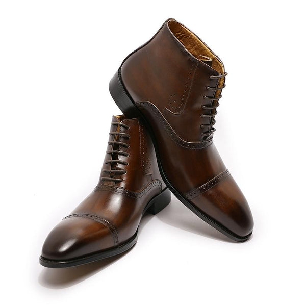 High-end Printed Lace Up Formal Leather Boots