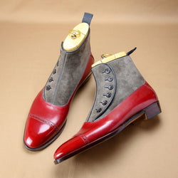 Clearance Handmade Leather Mix Suede Button Red Boots