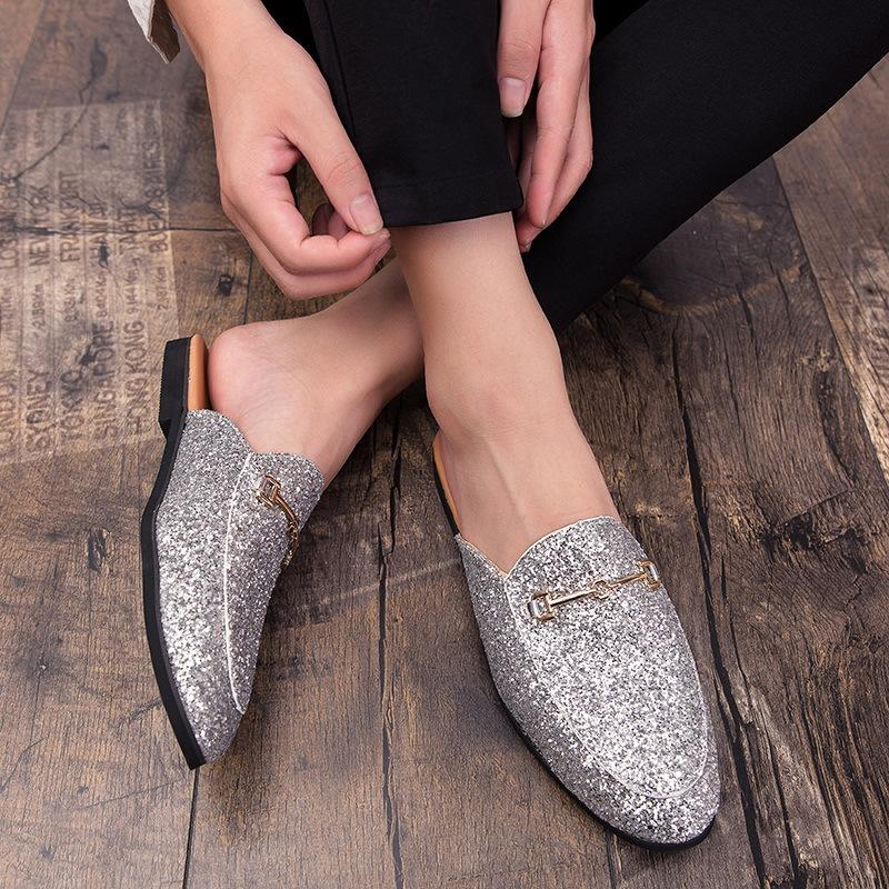 Korean Version of Pointed Outdoor Leather Half Slippers