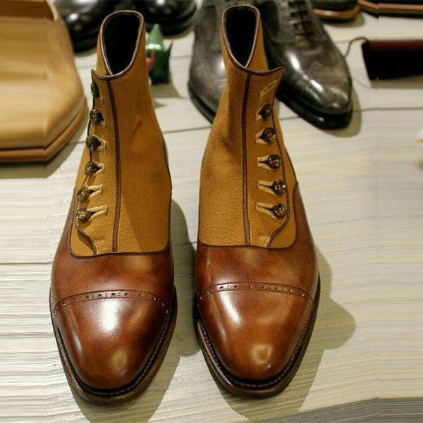 Clearance Button Deco Cap Toe Boots