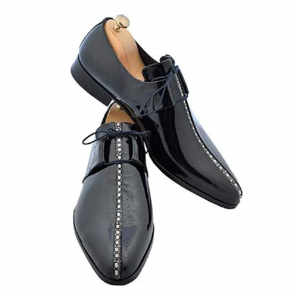 Clearance Men's Shiny Black Lace-up Leather Shoes